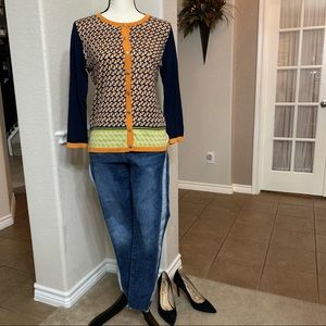 Spartina 449 navy/orange/green button down sweater